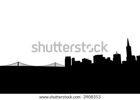 Silhouette of Downtown San Francisco and the Bay Bridge - stock photo