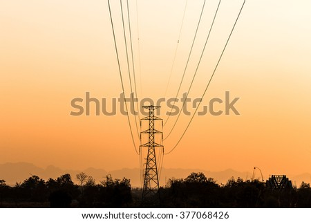 Silhouette of electrical tower