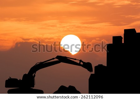 silhouette of  excavator Construction works, construction machinery, bulldozer, excavation, factory - stock photo