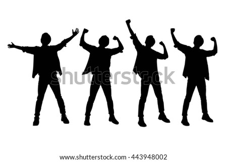 Silhouette of Excited man arise arm with white background - stock photo