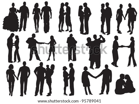 Silhouette of Falling in love.  Man and woman in love: hug, kissed, go for a walk, dance - stock photo