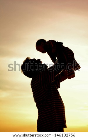 silhouette of family - stock photo