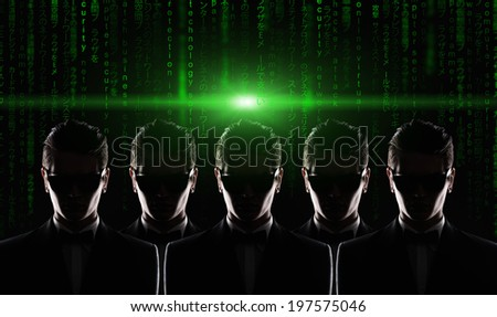 silhouette of five men in jacket. cyber security concept - stock photo