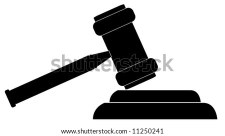 silhouette of gavel - hammer of judge or auctioneer - stock photo