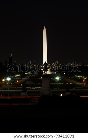 Silhouette of General Grant statue and Washington Monument at night - Washington DC United States
