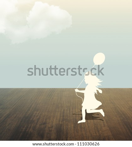 silhouette of girl with Balloon in hand under sky .paper cut style - stock photo