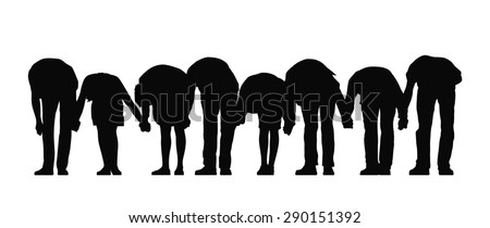silhouette of group of people holding their hands standing in a row making a bow, front view - stock photo