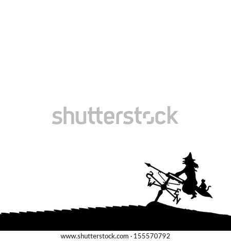 Silhouette of Halloween witch and cat on a broomstick against a white background - stock photo