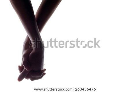 silhouette of hands man and woman holding hand on white Background, couple holding hands - stock photo