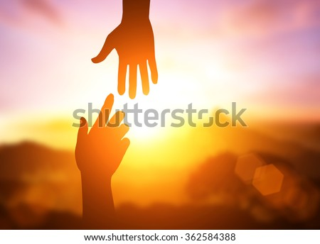 silhouette helping hand concept international dayの写真素材