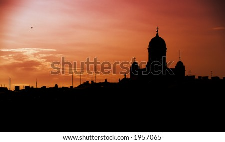 Silhouette of Helsinki concentrating on the main Cathedral - stock photo