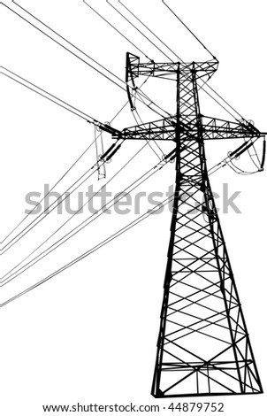 Silhouette of high voltage electric line against blue sky - stock photo
