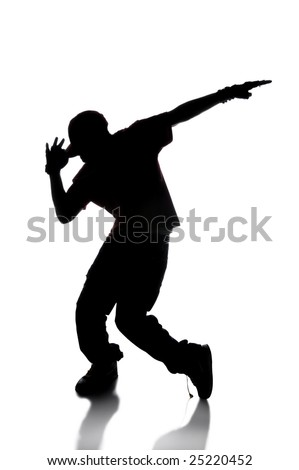 Silhouette of hip hop dancer over a white background - stock photo