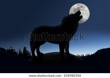 Silhouette of howling wolf against forest skyline and full moon. - stock photo