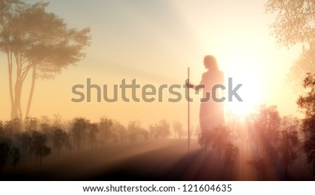 Silhouette of Jesus in the sunlight