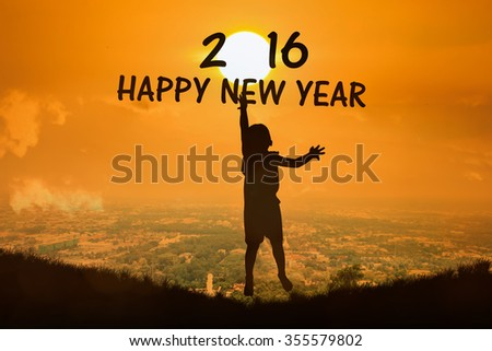 Silhouette of little boy  jump show text new year 2016 sunset  background - stock photo