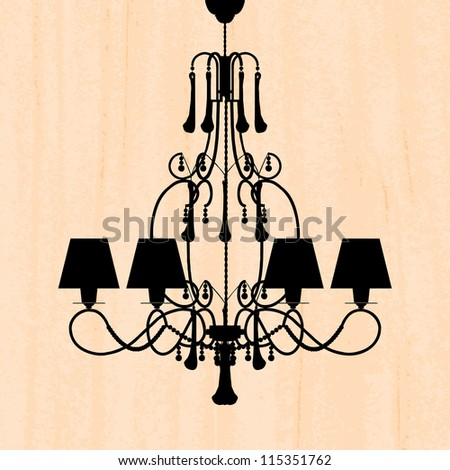 silhouette of luxury chandelier on a scratched peachy wallpaper/ template design of invitation with chandelier - stock photo