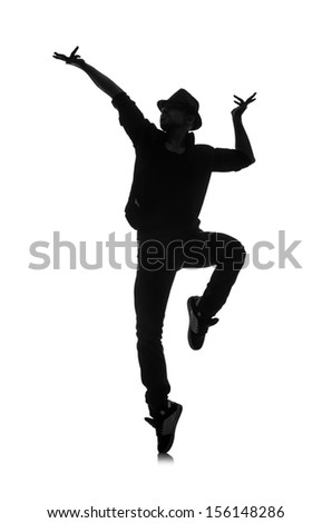 silhouette of male dancer isolated on white