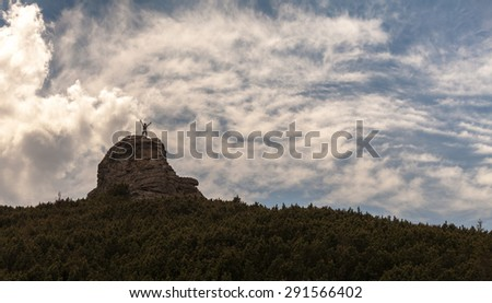 Silhouette of man and beautiful sky. Element of design. - stock photo