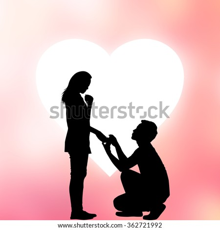 silhouette of man ask woman to marry on love heart shape background:adult couples passion in love concept:dark shadow of people lovers in romantic and happy moment time conceptual.Valentine's day - stock photo