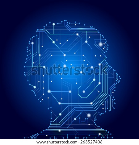 Silhouette of man brain and head profile side view by circuit board, concept for business and technology - stock photo