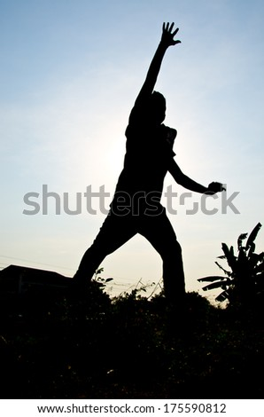 silhouette of man jumping for happy and victory - stock photo