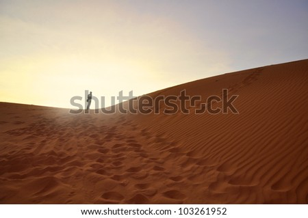 Silhouette of Man on Desert Sand during Sunrise. Loneliness and Success Symbolism. - stock photo