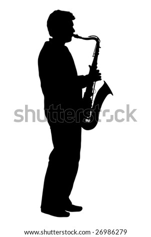 silhouette of man playing the saxophone - stock photo