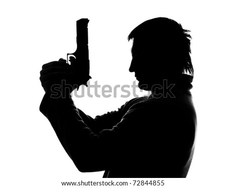 Silhouette of man with gun shooting. Isolated on white - stock photo
