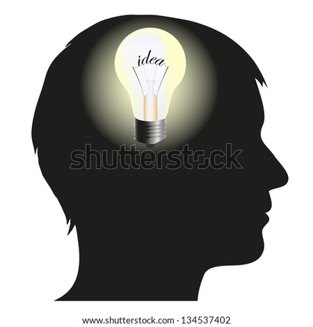 Silhouette of man with idea