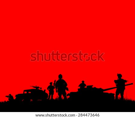 Silhouette of military soldiers team or officer with weapons and tank at colorful background  - stock photo