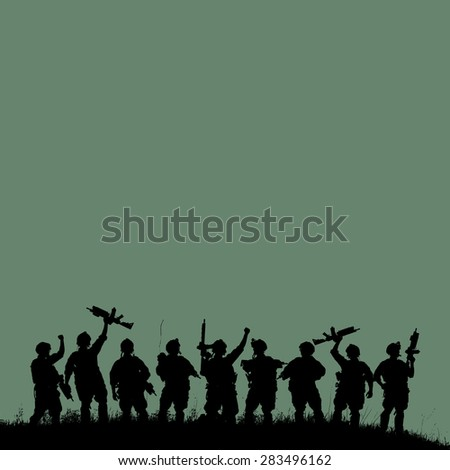 Silhouette of military soldiers team or officer with weapons at green colorful background - stock photo