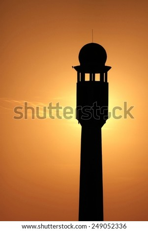 Silhouette of minarets of Masjid
