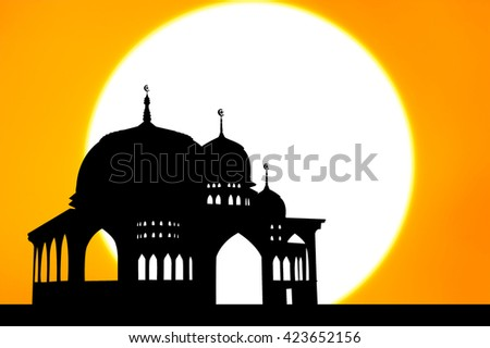 Silhouette of Mosque on sunset background