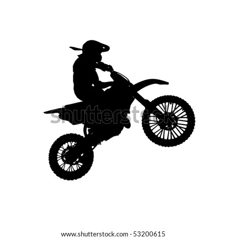 Silhouette of motorcycle. Element of sport desogn. - stock photo