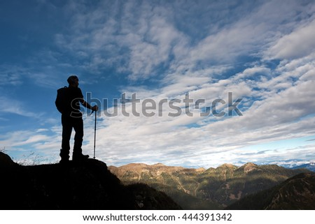 Silhouette of mountaineer
