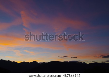 Silhouette of mountains. Sunset in Non Valley, Trentino, italy