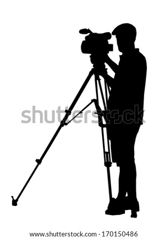 Silhouette of Movie Cameraman with camera on tripod stand - stock photo