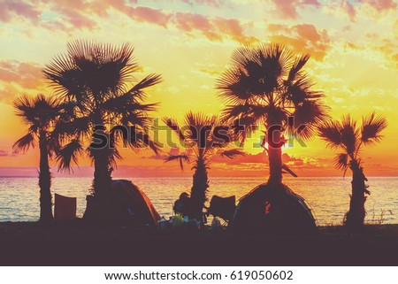 Silhouette of palm trees and tourist tents near the sea at sunset