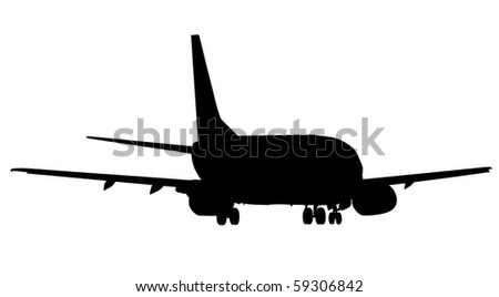 Silhouette of passenger airplane accelerating for takeoff - stock photo