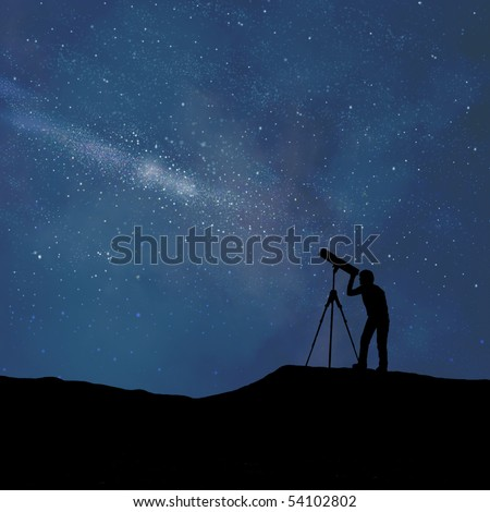 Silhouette of person looking at a stylized digitally created night sky through a stylized digitally created telescope - stock photo