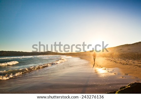 silhouette of person on beach watching sunrise over the sea. Palm beach in New South Wales, Australia  - stock photo