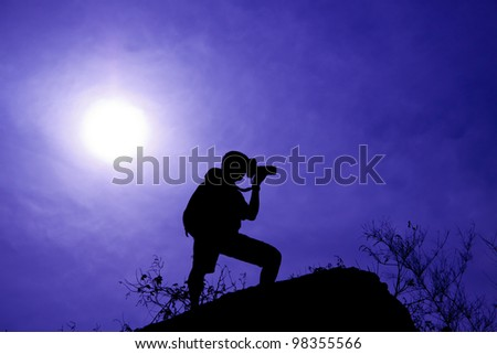 Silhouette of Photographer on the mountain
