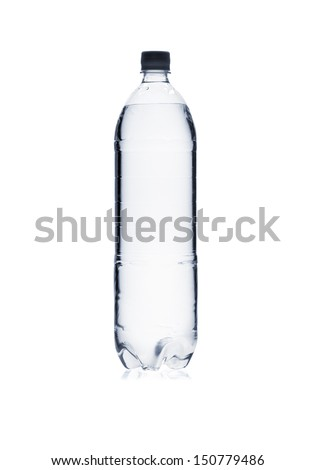 Silhouette of plastic water bottle isolated on white background - stock photo