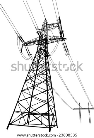 Silhouette of Power lines and electric pylons - stock photo