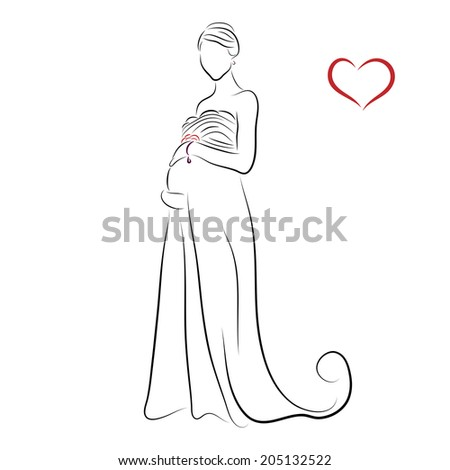 Silhouette pregnant bride greeting card wedding stock illustration silhouette of pregnant bride for greeting card or wedding invitation m4hsunfo