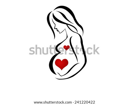 Silhouette of Pregnant with Heart - stock photo