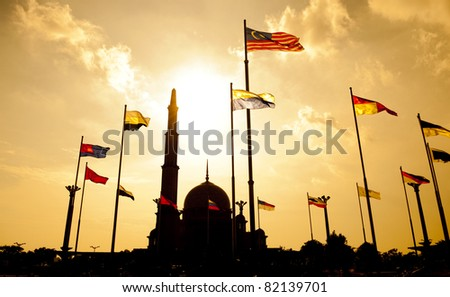 Silhouette of Putra Mosque in sunset. Putrajaya, Malaysia.