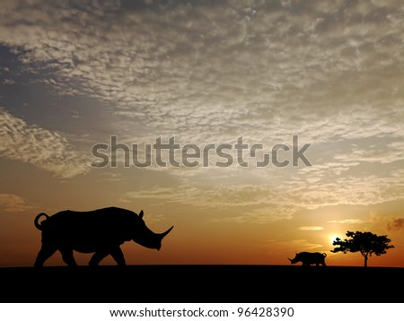 Silhouette of Rhinoceros roaming in the savannah during a surreal fiery sunset. - stock photo