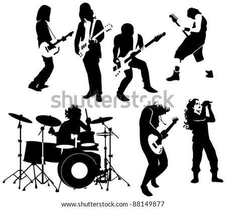 silhouette of rock and roll musicians - stock photo